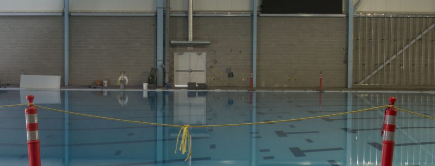 photograph of indoor pool with stanchions by Brenda Francis Pelkey