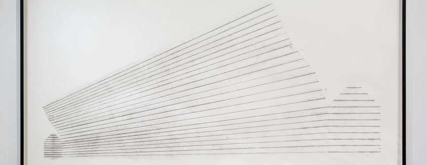 Lyn Carter, Drawing #12 (Skew), 2015, snap-line chalk on paper. Photo by Peter Legris.