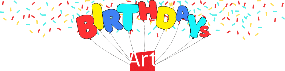 """AGP logo with balloons that spell out """"Birthdays"""" with multi-colour graffiti falling in the background"""