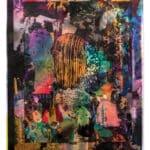 "Sandy Plotnikoff, Foil Problem, Foils, acrylic, image transfer, industrial foil, 14"" x 11"", 2017."