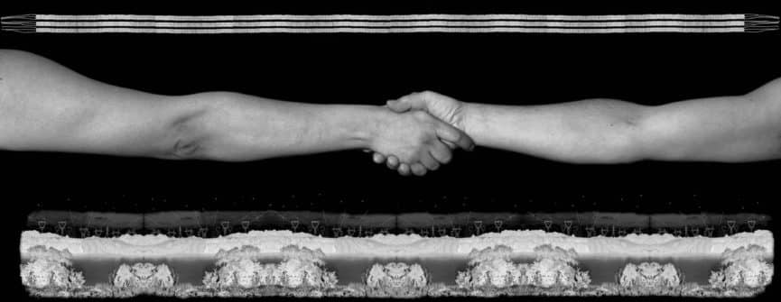 Shelley Niro, Unity, 2008, from the series: Borders-Treaties, black and white inkjet print