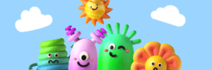Five colourful claymation figures