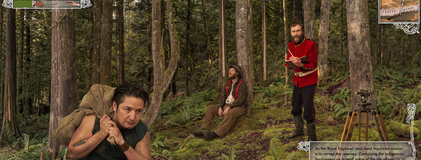 photo collage printed on vinyl with metal conduit, depicting three characters in a forest, in the fictional video game 'grand theft terra firma'.