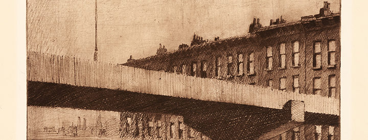 sepia tone etching of modern expressway overpass with factory-like buildings in background