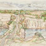 Adeline Rocket, Hilly Road, 1982, watercolour on paper