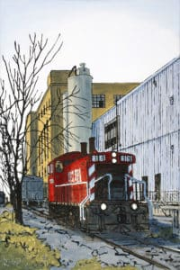 landscape featuring train and factory in Peterborough, ON