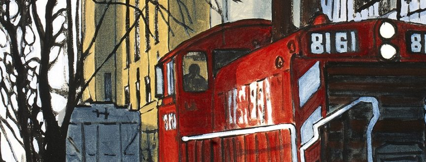 detail of painting by Peer Christensen with red train in foreground, factory in background