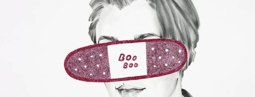 detail of Boo Boo by Chris Ironside; graphite, glitter, archival glue on paper