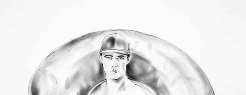 "Chris Ironside, You'll Never Gain Weight From A Doughnut Hole, 2019, graphite on paper, 38"" x 36"". Image courtesy of the artist."