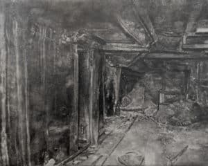 greyscale graphite drawing of a dilapidated interior