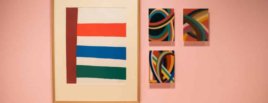 Left: Jack Bush, Stripes to the Right, 1965, colour serigraph on paper, Collection of the Robert McLaughlin Gallery; Right: FFG, letters, 2018-2019, digital drawing, chromogenic print mounted on plexi