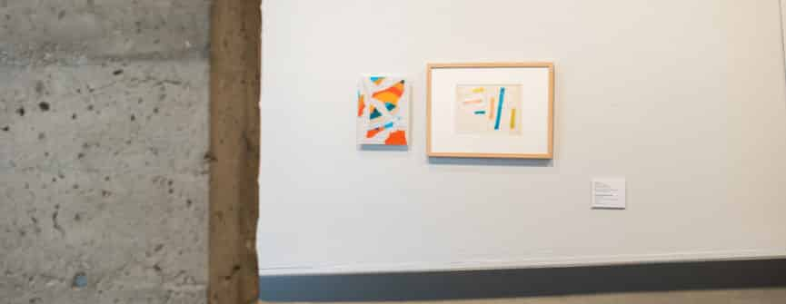 Left: FFG, letters, 2018-2019, digital drawing; Right: Jack Bush, Untitled (2 drawings), 1972, felt pen and graphite on paper, Collection of the Robert McLaughlin Gallery