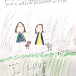 """Marker and pencil cryon drawing of a grandma and grand daughter playing with two dogs outside. Drawing has the following text: """"Dear Grandma, thank you for all of your hard work. You are a hero! Thank you for being your best! You are so so so brave! I love you sooo much. You are so cool! I love you Grandma! Love Indigo."""""""