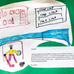 """Marker drawing of a hockey goalie with the following text: """"Thank you Claire and Janet (Mom) for helping us survive the Coronavirus. You have helped the City of Peterborough so much. If you and the public health team can keep this up we will get to go back to school so we can see our friends and get back to learning. Thank you for working long days trying to keep everyone safe. I really like the job you and the Health Unity are doing. You are changing the world."""""""