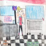 Pencil crayon drawing of a super market worker standing by a cash register and grocery store displays of cans and candy