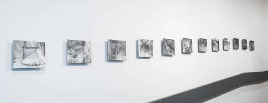 217 (Elephant's Foot) Series, 2015-2017, graphite on gessoed aluminum; installation view