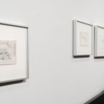 Studies of Irradiated Robots, 2016, graphite and silverpoint on gessoed paper; installation view