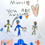 """Marker and pencil drawing of a fire fighter and a fire truck, police officer and a police car, and a doctor and an ambulance with the text: """"Thank you! Merci! You are awesome."""""""