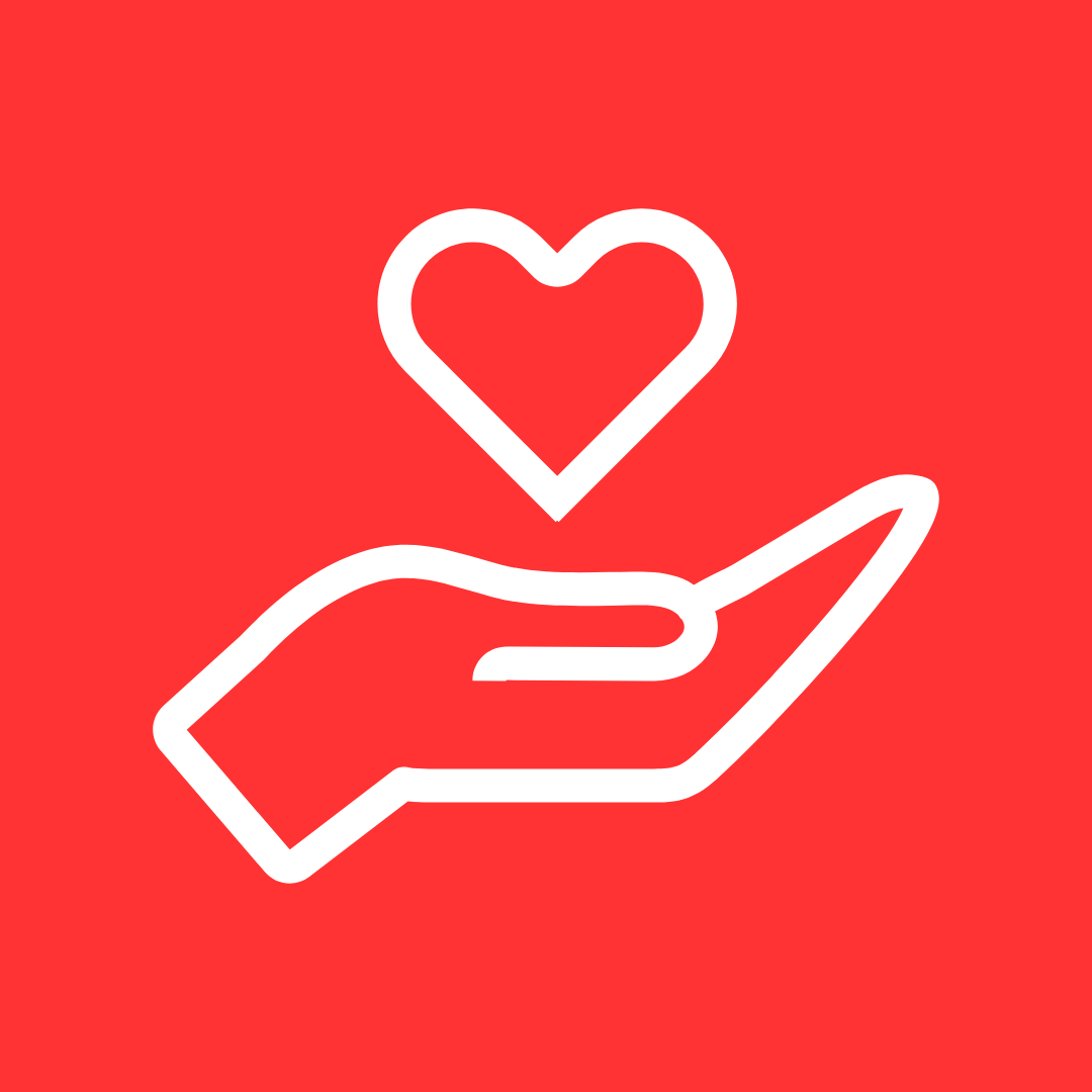 Red hand holding a heart graphic