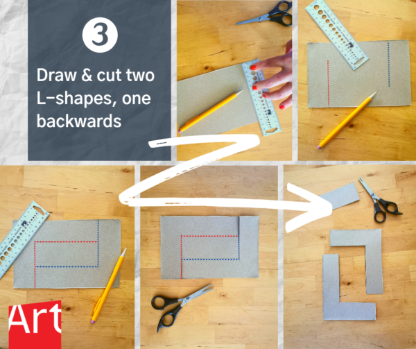 """Work station with a ruler, pencil, scissors, and cardboard with two L shape lines. Text reads: """"3 Draw and cut two L-shapes, one backwards."""""""
