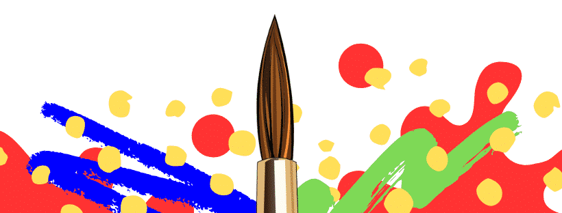 graphic of pant and paintbrush in centre