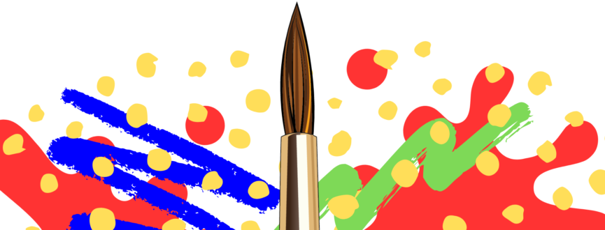 Paint brush with various red, blue, green, and yellow paint brush strokes