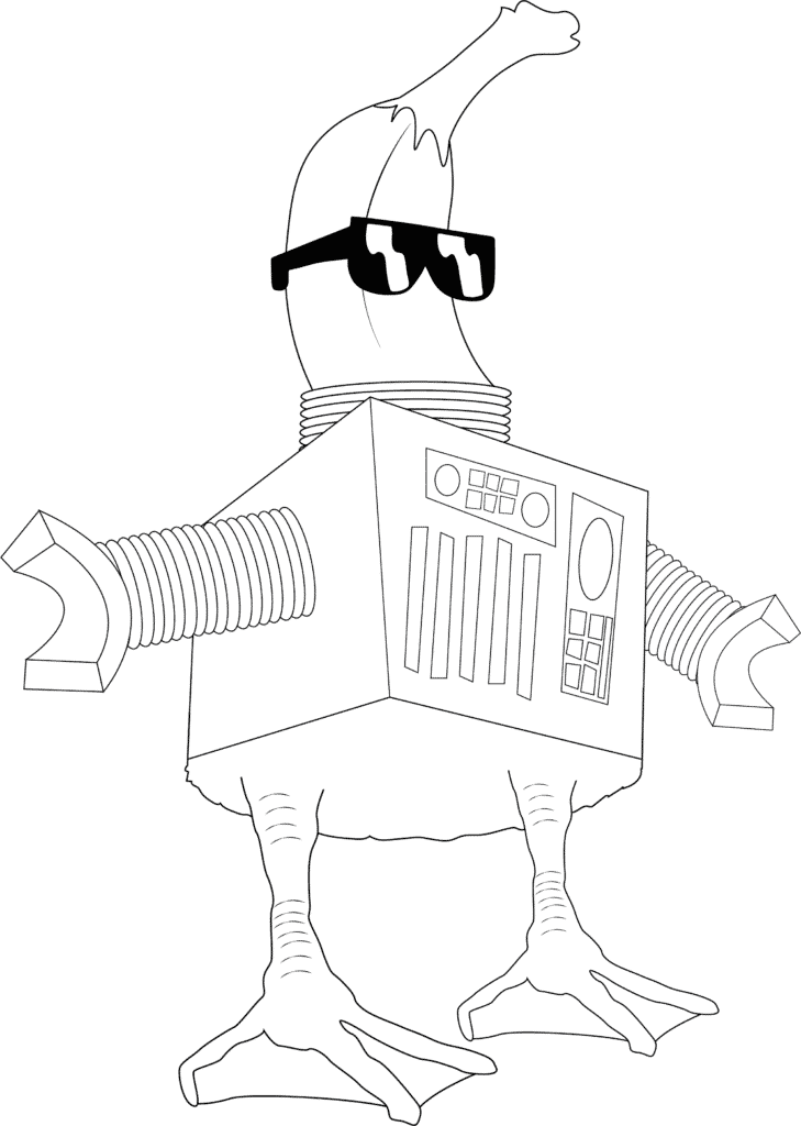 example of a party monster with sunglasses and banana head