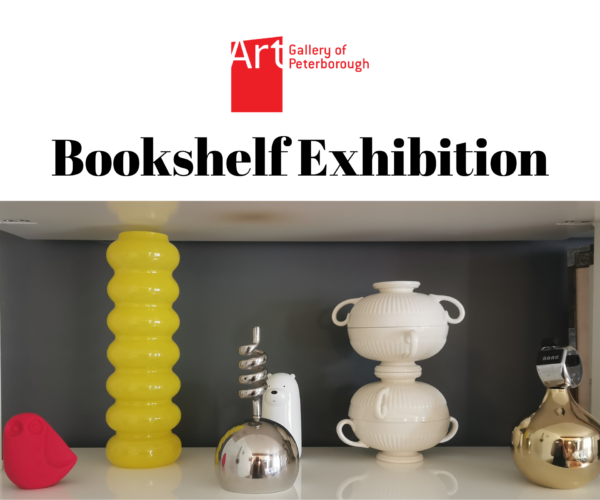 """AGP logo. White shelf with multiple yellow, red, while, and silver objects. Text reads: """"Bookshelf Exhibition."""""""