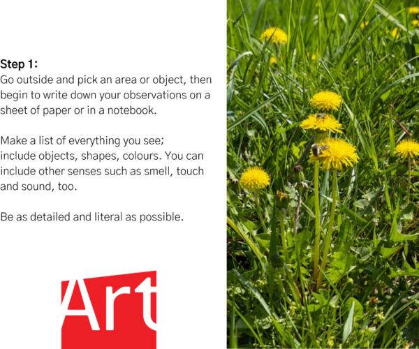 """AGP logo. Dandelion field. Text reads: """"Step 1: Go outside and pick an area or object, then begin to write down your observations on a sheet of paper or in a notebook. Make a list of everything you see; include objects, shapes, colours. You can include other senses such as smell, touch and sound, too. Be as detailed and literal as possible."""""""