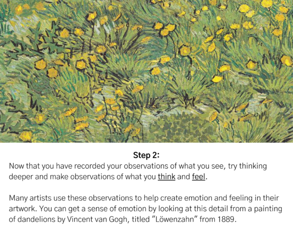 """Painting of a dandelion field by Vincent van Gogh. Text reads: """"Step 2: Now that you have recorded your observations of what you see, try thinking deeper and make observations of what you think and feel. Many artists use these observations to help create emotion and feeling in their artwork. You Can get a sense of emotion by looking at this detail from a paining of dandelions by Vincent van Gogh, titled 'Löwenzahn' from 1889."""""""