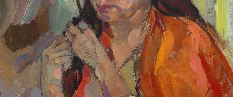 Arthur Shilling, Portrait of Millie (with red shawl), 1975, oil on Masonite, collection of Barbara Stimpson. Photo: Michael Cullen, TPG Digital Arts, Toronto