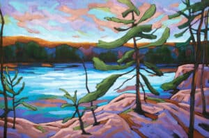 Landscape painting of pine trees overlooking a lake