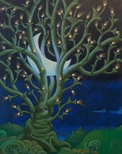 Night scene, with tree holding a crescent moon