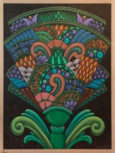 stylized painting of a flower with many intricate patterns