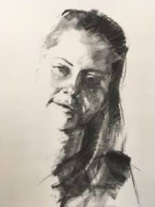 charcoal drawing portrait of a young woman