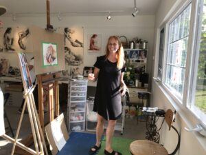 The artist, Anne Hoover, in her studio