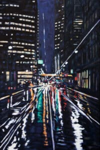 painting of street lights on a wet street at night