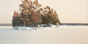 winter landscape painting of an island in a sunset
