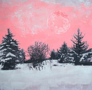 pink sunset over a winter forest scene