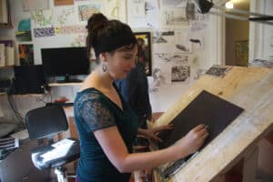 Shannon Taylor working in her studio