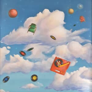 painting of floating objects in the sky