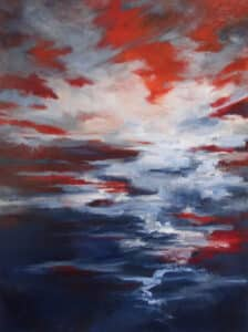 abstract landscape painting, with red, white and blue brushstrokes