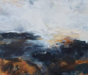 abstract landscape painting, with white, blue and ochre strokes
