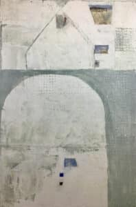white abstract painting, with archway at botom left corner