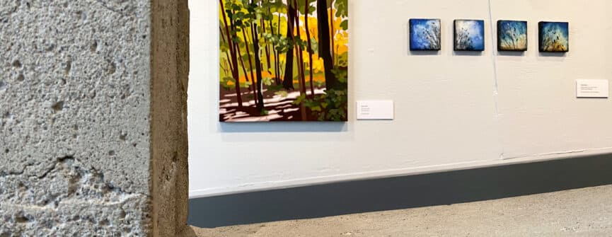 Left: Leanne Baird, Forest Light, 2020, acrylic on canvas; Right: Victoria Wallace, Silhouette Series: #10, 12, 20, 21, 2019, encaustic, ink and oil pastel