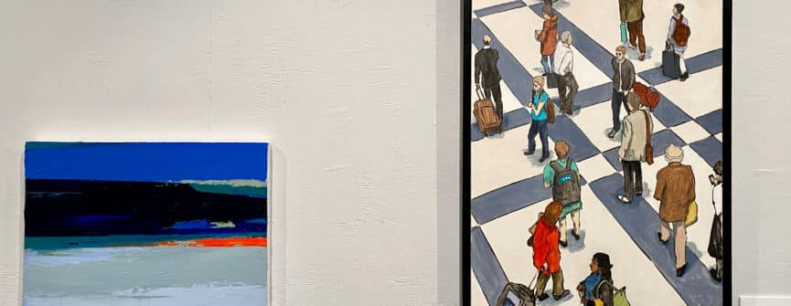 Left: Rowena Dykins, Sunrise, 2020, acrylic on canvas; Right: Peer Christensen, Liverpool Street Station, 2019, oil on canvas