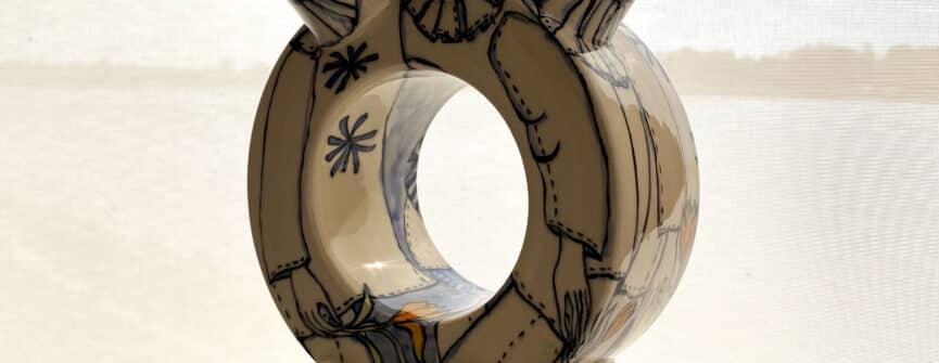 Thomas Aitken & Kate Hyde, Clockmount Vase: Punchinello, 2015, ceramic