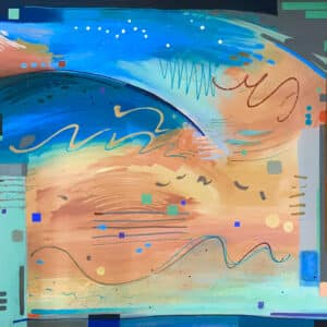 abstract painting with large washes of blue and orange, with many squiggled lines