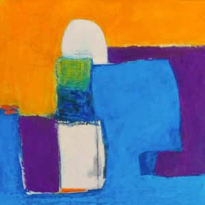 Abstract painting with angular shapes of blue, purple, orange and green
