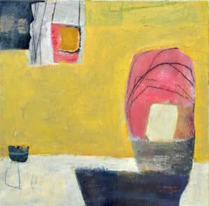 Abstract painting with large wash of yellow and some pink bulbous shapes